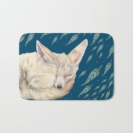 Fennec Fox Feather Dreams in Turquoise Bath Mat