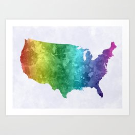 USA map in watercolor rainbow Art Print