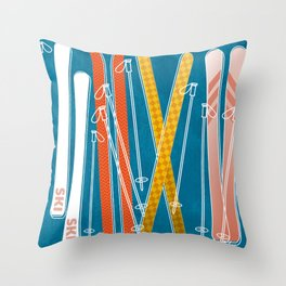 Colorful Ski Pattern Throw Pillow