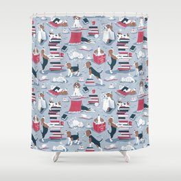Life is better with books a hot drink and a friend // blue background brown white and blue beagles and cats and red cozy details Shower Curtain