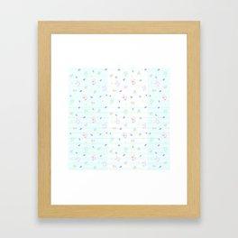 Disco Bots White Framed Art Print