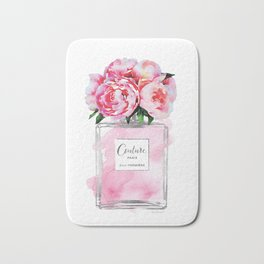 Perfume, watercolor, perfume bottle, with flowers, pink, Silver, peonies, Fashion illustration Bath Mat