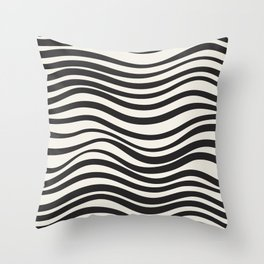 Wavy lines black and white Throw Pillow
