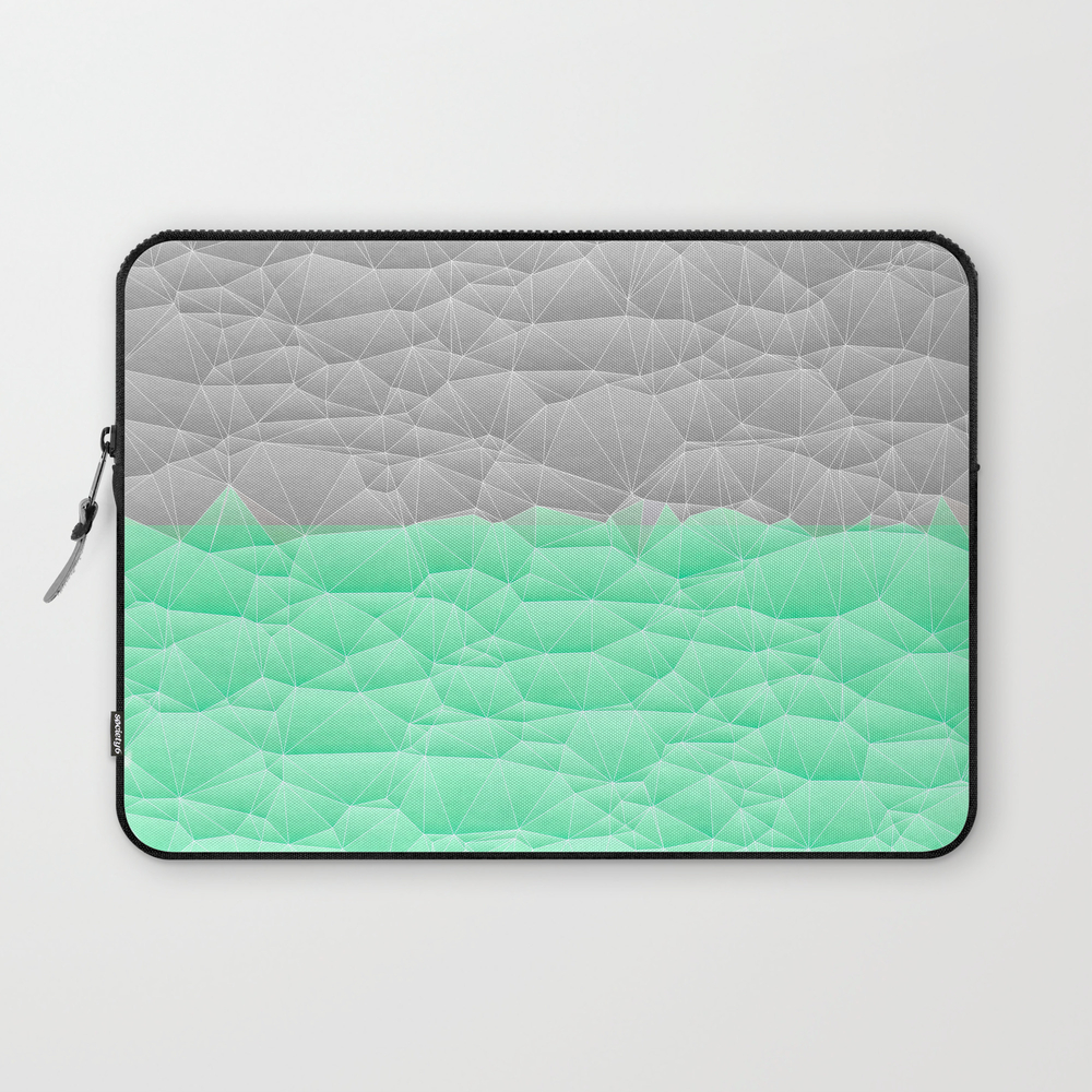 Vibrant Mint Green And Silver Quilted Design Laptop Sleeve LSV8890336