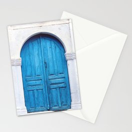 Vibrant Blue Greek Door to Whitewashed Home in Crete, Greece Stationery Cards
