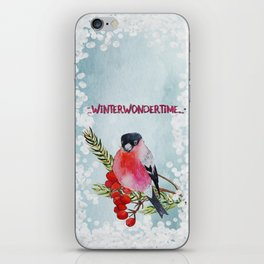 Winter Wondertime - Merry christmas - Little finch on branch-covered with snow iPhone Skin