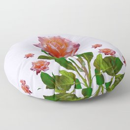 ANTIQUE PINK ROSES BOTANICAL ART Floor Pillow
