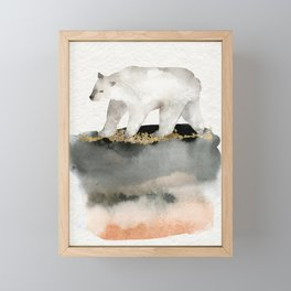 Polar Bear Watercolor Animal Painting   Framed Mini Art Print