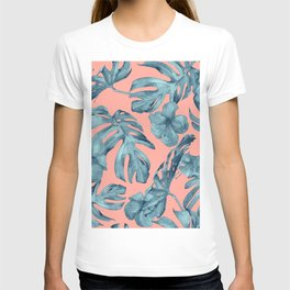 Island Life Teal on Coral Pink T-shirt