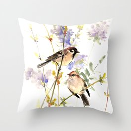 Sparrows and Spring Blossom Throw Pillow