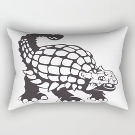 Ankylosaurus Dinosaur Prehistoric Black and White Rectangular Pillow