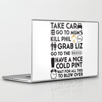 shaun of the dead Laptop & iPad Skins featuring SHAUN OF THE DEAD THE PLAN by thischarmingfan