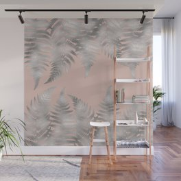 Silver fern leaves on rosegold background - abstract pattern Wall Mural
