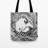 lichtenstein Tote Bags featuring Zentangle Lichtenstein by butterflyandbear