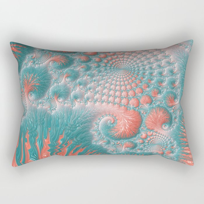 Abstract Coral Reef Living Coral Pastel Teal Blue Texture Spiral Swirl Pattern Fractal Fine Art Rectangular Pillow