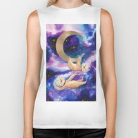 sloths Biker Tanks featuring Sloths in Space by Kamina