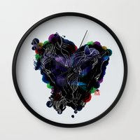 lovers Wall Clocks featuring LOVERS by i am gao