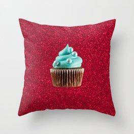 Cupcake Love | Aqua Swirl on Red Sparkle Throw Pillow