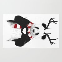 xmas Area & Throw Rugs featuring Xmas panda by Balazs Solti