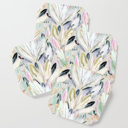 Pastel Shimmer Feather Leaves on Gray Coaster