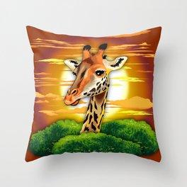 Giraffe on Wild African Savanna Sunset Throw Pillow