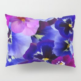 Abstract blue purple pink white pansies floral Pillow Sham