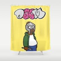 sofa Shower Curtains featuring Sofa King by n3rdeye