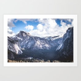 Yosemite Valley in Winter with Blue Sky Art Print