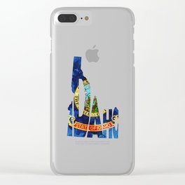 Idaho Typographic Flag Map Art Clear iPhone Case