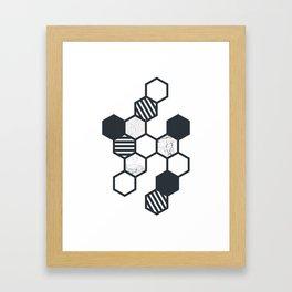 Marble Hex White Framed Art Print