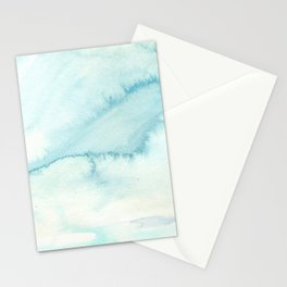 Abstract hand painted blue teal watercolor paint pattern Stationery Cards