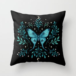 Mystical Luna Moth - Turquoise Throw Pillow