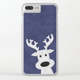 Christmas reindeer blue marble Clear iPhone Case