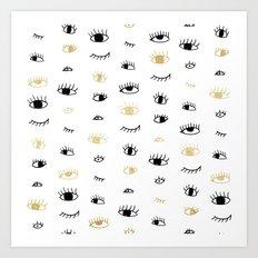 Funny fashion gold and black cute eyes pattern  Art Print