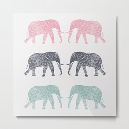 Elephant Pattern Metal Print
