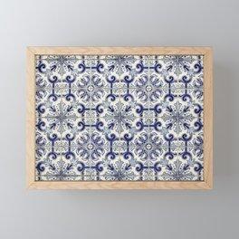 Portuguese tiles pattern blue Framed Mini Art Print
