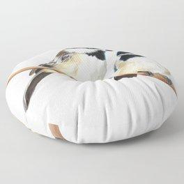 Black Capped Chickadees Floor Pillow