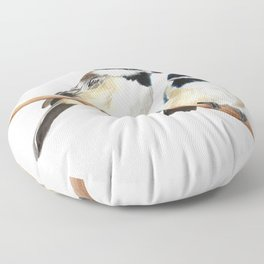 Black Capped Chickadees Floor Pillow