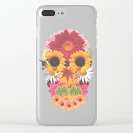 Calavera Floral Clear iPhone Case
