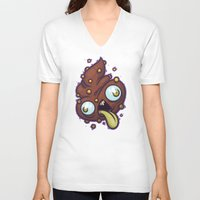 poop V-neck T-shirts featuring Poop by Artistic Dyslexia