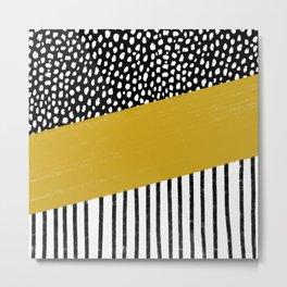 Polka Dots and Stripes Pattern (black/white/mustard yellow) Metal Print