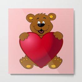 Happy teddybear with heart cartoon Metal Print
