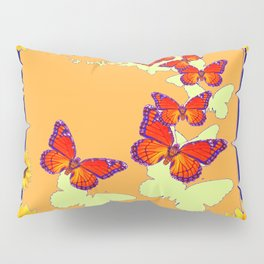 Monarch Butterflies Sunflowers Cumin Color & Yellow Art Pillow Sham