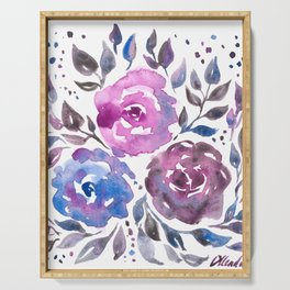 Dreamy Watercolor Flowers Serving Tray