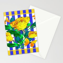 YELLOW SPRING ROSES & BUTTERFLIES WITH LILAC STRIPES Stationery Cards