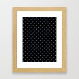 Baby Blue on Black Snowflakes Framed Art Print