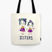 sisters Tote Bags featuring Sisters by Chika Ando