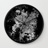 chile Wall Clocks featuring Santiago map Chile by Line Line Lines