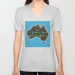 map of Australia. Wombat Echidna Platypus Emu Tasmanian devil Cockatoo kangaroo dingo octopus fish Unisex V-Neck