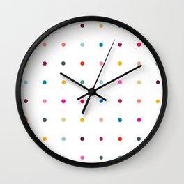 Rainbow polka dot pegboard Wall Clock